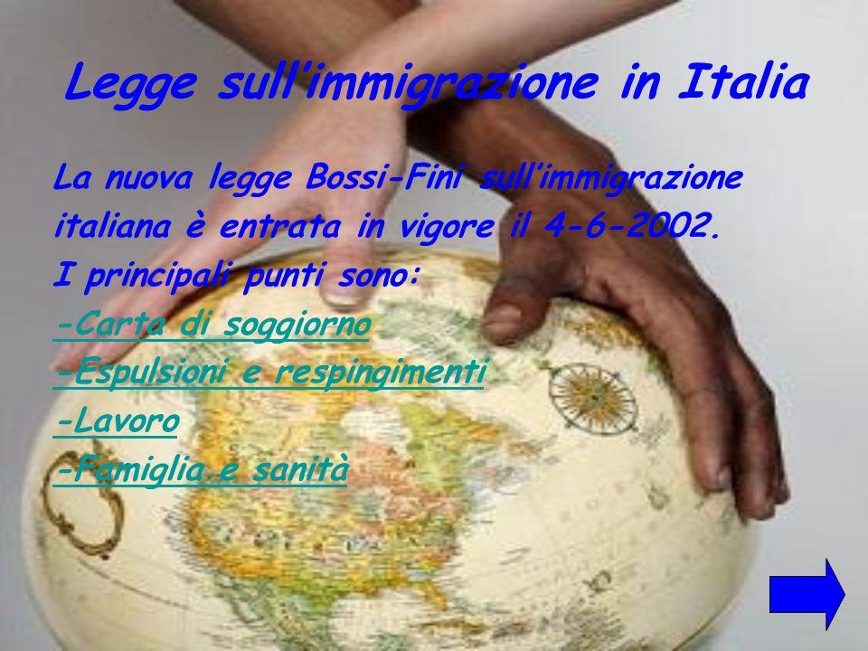 Legge sullimmigrazione in Italia La nuova legge Bossi-Fini sullimmigrazione italiana è entrata in vigore il 4-6-2002. I principali punti sono: -Carta
