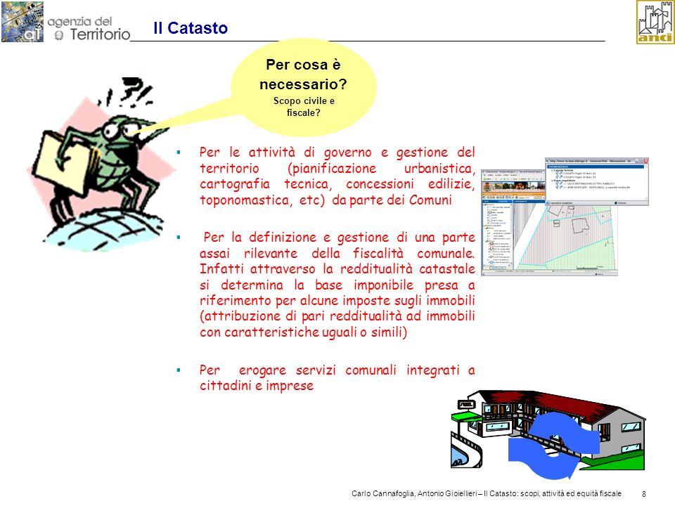 8 Carlo Cannafoglia, Antonio Gioiellieri – Il Catasto: scopi, attività ed equità fiscale 8 Il Catasto Per le attività di governo e gestione del territ