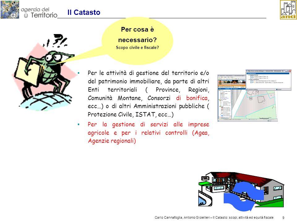 9 Carlo Cannafoglia, Antonio Gioiellieri – Il Catasto: scopi, attività ed equità fiscale 9 Il Catasto Per le attività di gestione del territorio e/o d