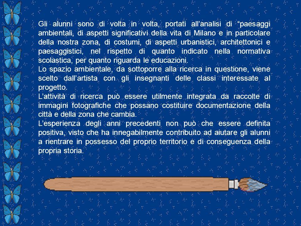 Gli alunni sono di volta in volta, portati allanalisi di paesaggi ambientali, di aspetti significativi della vita di Milano e in particolare della nos