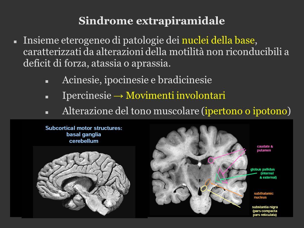 Sindrome extrapiramidale Insieme eterogeneo di patologie dei nuclei della base, caratterizzati da alterazioni della motilità non riconducibili a deficit di forza, atassia o aprassia.