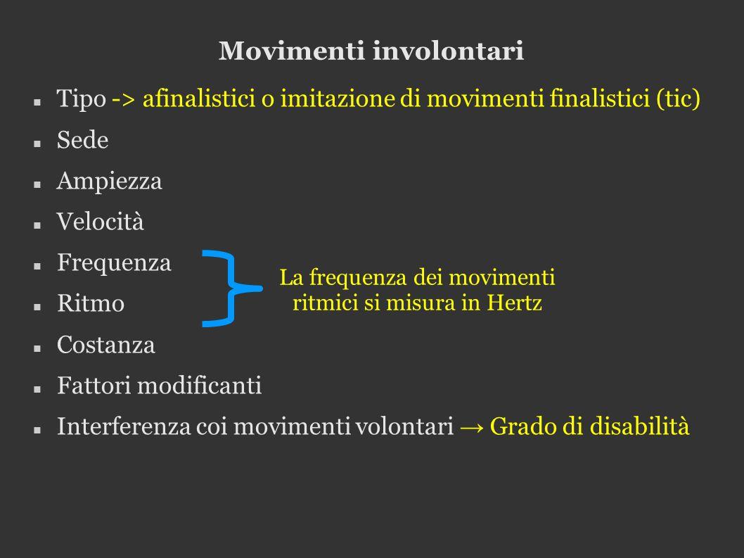 Movimenti involontari Tipo -> afinalistici o imitazione di movimenti finalistici (tic) Sede Ampiezza Velocità Frequenza Ritmo Costanza Fattori modificanti Interferenza coi movimenti volontari Grado di disabilità La frequenza dei movimenti ritmici si misura in Hertz