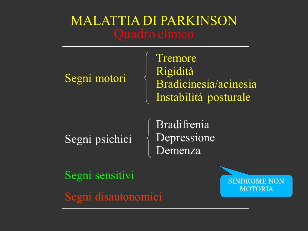 MALATTIA DI PARKINSON Quadro clinico Segni motori Segni psichici Segni sensitivi Segni disautonomici Tremore Rigidità Bradicinesia/acinesia Instabilit