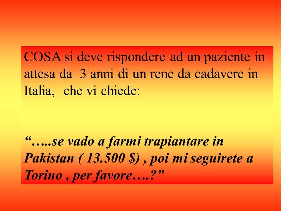 COSA si deve rispondere ad un paziente in attesa da 3 anni di un rene da cadavere in Italia, che vi chiede: …..se vado a farmi trapiantare in Pakistan ( 13.500 $), poi mi seguirete a Torino, per favore….