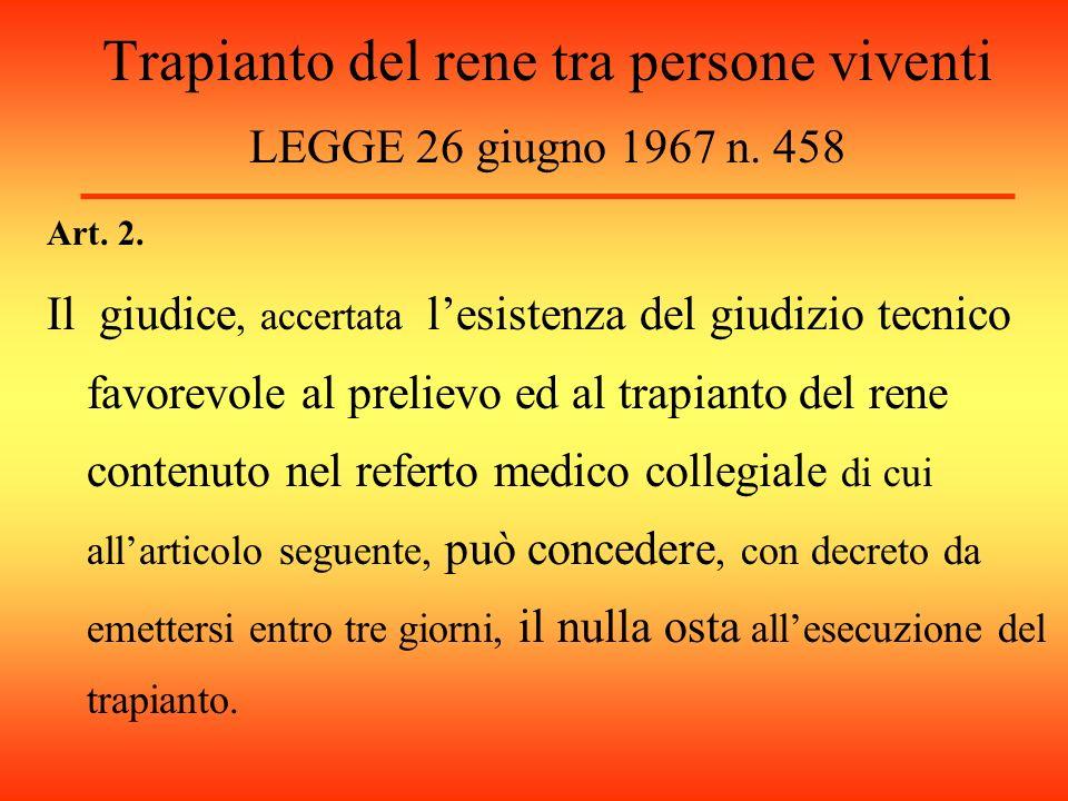 Trapianto del rene tra persone viventi LEGGE 26 giugno 1967 n.