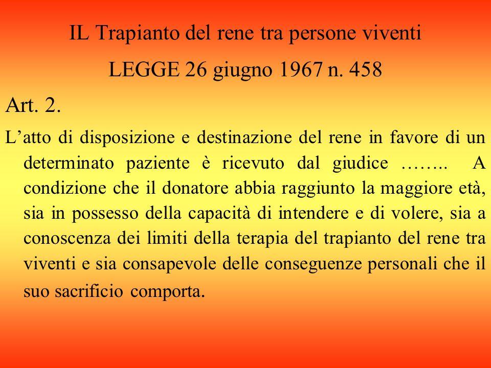 IL Trapianto del rene tra persone viventi LEGGE 26 giugno 1967 n.