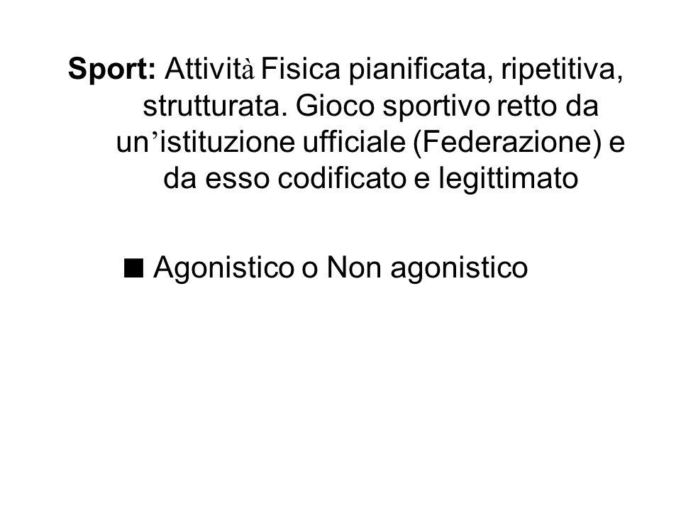 Sport: Attivit à Fisica pianificata, ripetitiva, strutturata. Gioco sportivo retto da un istituzione ufficiale (Federazione) e da esso codificato e le