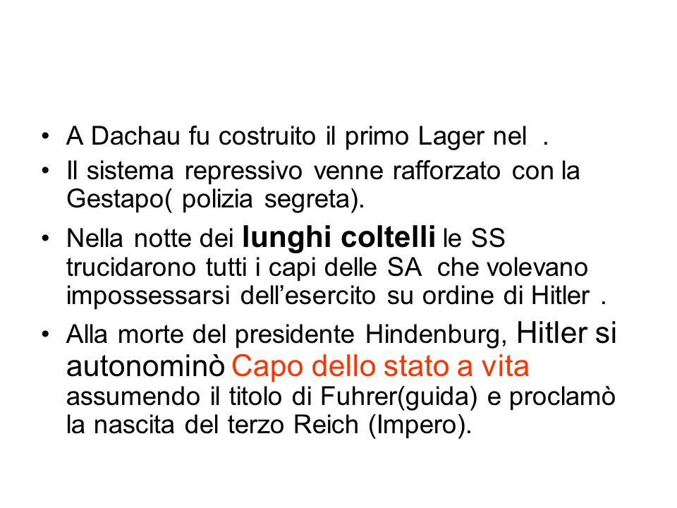 A Dachau fu costruito il primo Lager nel. Il sistema repressivo venne rafforzato con la Gestapo( polizia segreta). Nella notte dei lunghi coltelli le