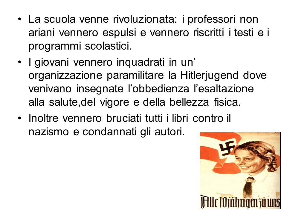 La scuola venne rivoluzionata: i professori non ariani vennero espulsi e vennero riscritti i testi e i programmi scolastici. I giovani vennero inquadr