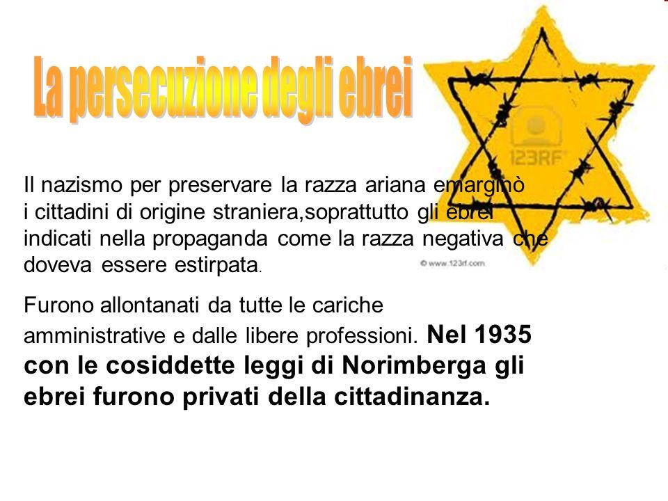 Il nazismo per preservare la razza ariana emarginò i cittadini di origine straniera,soprattutto gli ebrei indicati nella propaganda come la razza nega