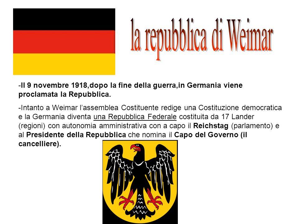 -Il 9 novembre 1918,dopo la fine della guerra,in Germania viene proclamata la Repubblica. -Intanto a Weimar lassemblea Costituente redige una Costituz