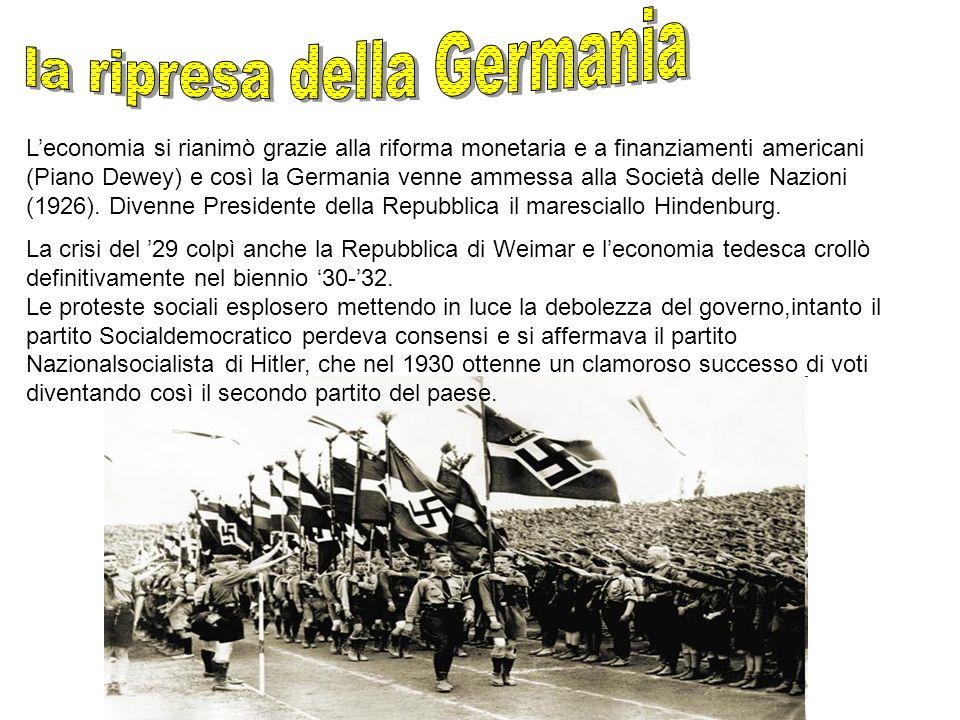 Leconomia si rianimò grazie alla riforma monetaria e a finanziamenti americani (Piano Dewey) e così la Germania venne ammessa alla Società delle Nazio