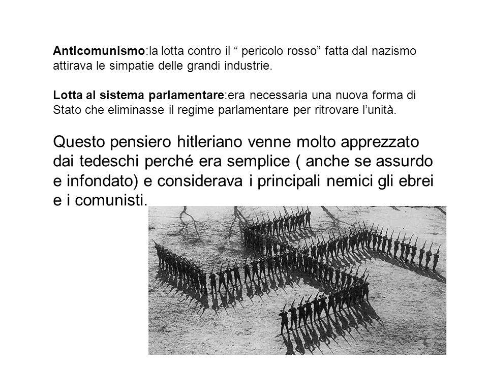 Anticomunismo:la lotta contro il pericolo rosso fatta dal nazismo attirava le simpatie delle grandi industrie. Lotta al sistema parlamentare:era neces