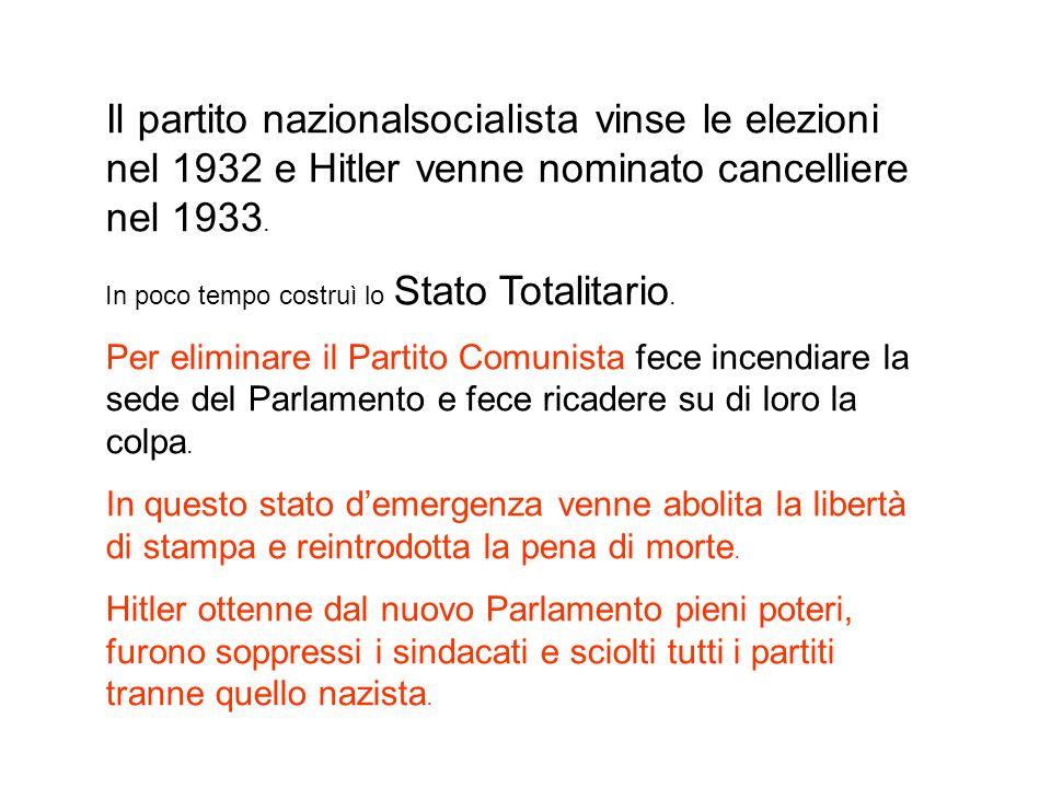 Il partito nazionalsocialista vinse le elezioni nel 1932 e Hitler venne nominato cancelliere nel 1933. In poco tempo costruì lo Stato Totalitario. Per