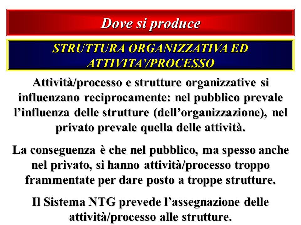 Dove si produce STRUTTURA ORGANIZZATIVA ED ATTIVITA/PROCESSO Attività/processo e strutture organizzative si influenzano reciprocamente: nel pubblico p