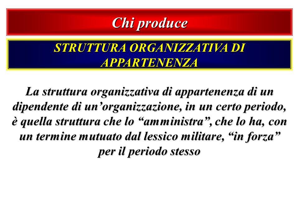 Chi produce STRUTTURA ORGANIZZATIVA DI APPARTENENZA La struttura organizzativa di appartenenza di un dipendente di unorganizzazione, in un certo perio