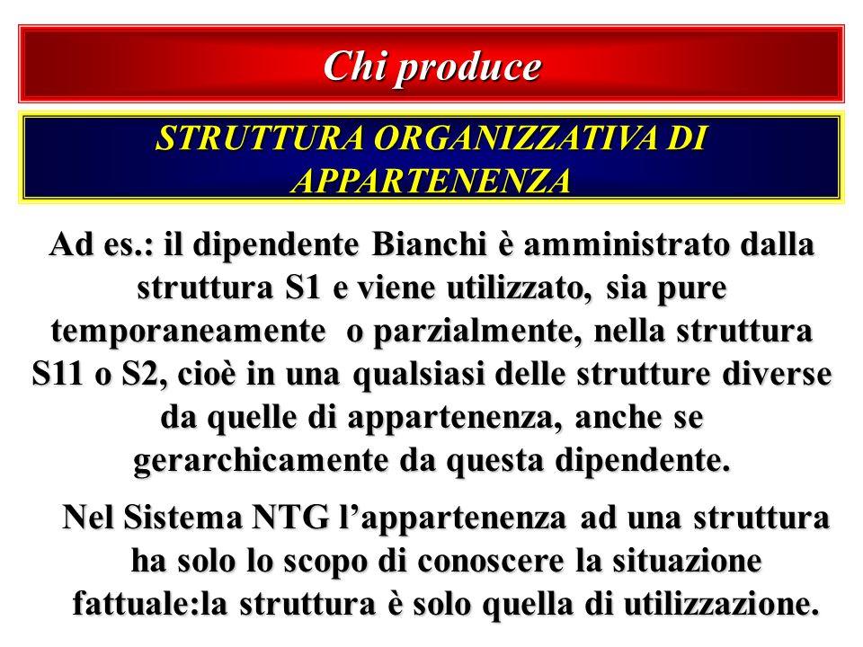 Chi produce STRUTTURA ORGANIZZATIVA DI APPARTENENZA Ad es.: il dipendente Bianchi è amministrato dalla struttura S1 e viene utilizzato, sia pure tempo