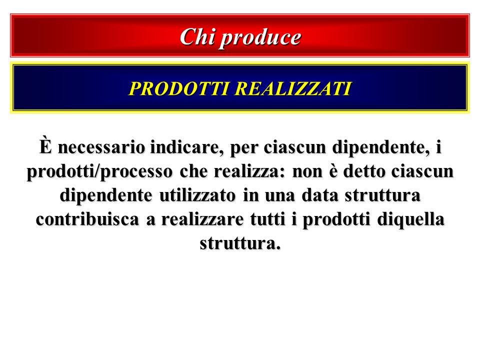 Chi produce PRODOTTI REALIZZATI È necessario indicare, per ciascun dipendente, i prodotti/processo che realizza: non è detto ciascun dipendente utiliz