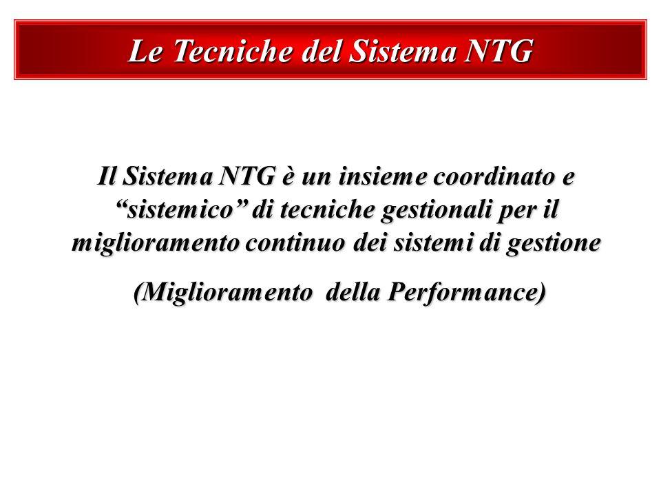 Le Tecniche del Sistema NTG Il Sistema NTG è un insieme coordinato e sistemico di tecniche gestionali per il miglioramento continuo dei sistemi di ges