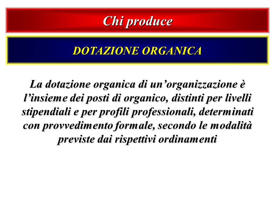 Chi produce DOTAZIONE ORGANICA La dotazione organica di unorganizzazione è linsieme dei posti di organico, distinti per livelli stipendiali e per prof