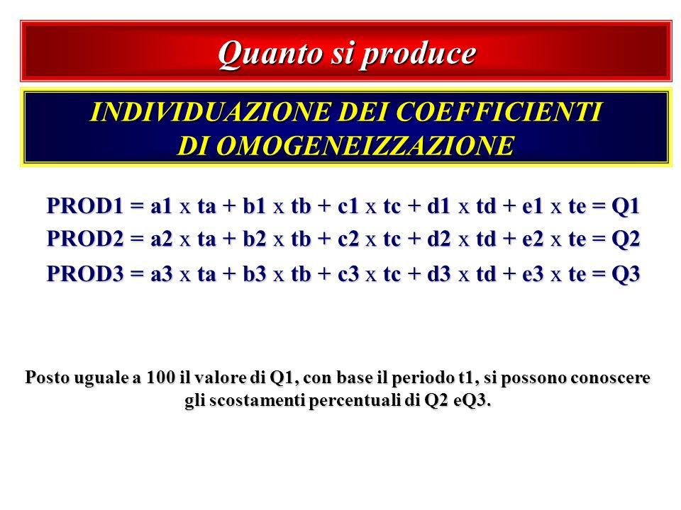 Quanto si produce INDIVIDUAZIONE DEI COEFFICIENTI DI OMOGENEIZZAZIONE PROD1 = a1 x ta + b1 x tb + c1 x tc + d1 x td + e1 x te = Q1 PROD2 = a2 x ta + b