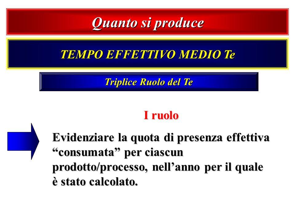 Triplice Ruolo del Te I ruolo Evidenziare la quota di presenza effettiva consumata per ciascun prodotto/processo, nellanno per il quale è stato calcol