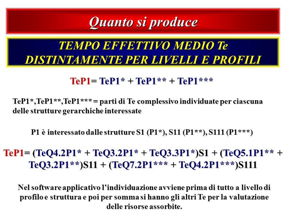 Quanto si produce TEMPO EFFETTIVO MEDIO Te DISTINTAMENTE PER LIVELLI E PROFILI TeP1= TeP1* + TeP1** + TeP1*** TeP1*,TeP1**,TeP1*** = parti di Te compl