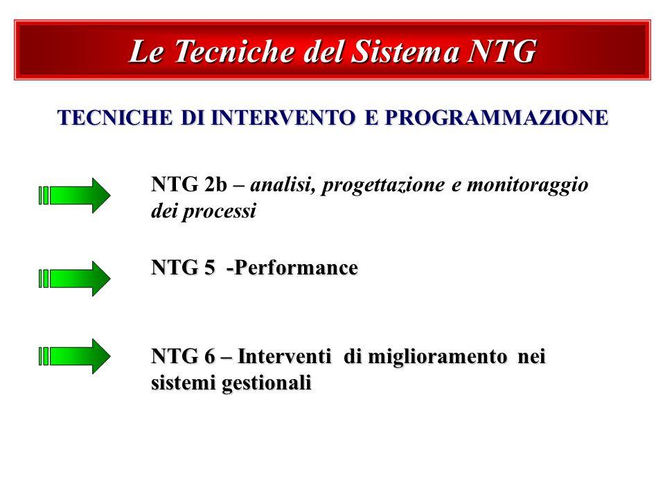 Le Tecniche del Sistema NTG TECNICHE DI INTERVENTO E PROGRAMMAZIONE NTG 2b – analisi, progettazione e monitoraggio dei processi NTG 5 -Performance NTG