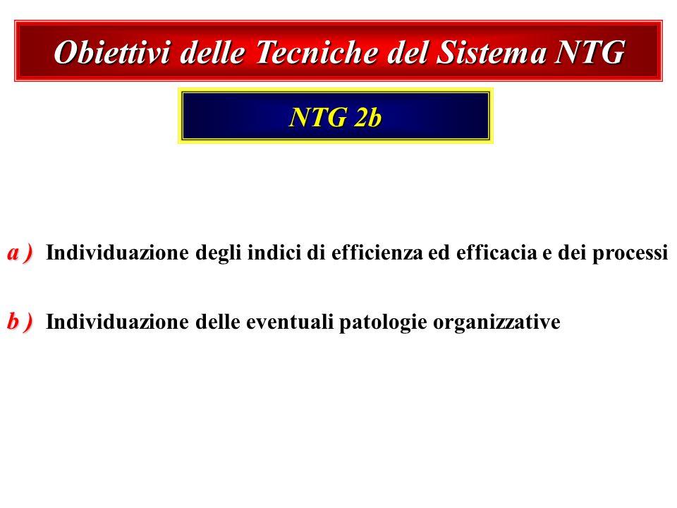 b ) b ) Individuazione delle eventuali patologie organizzative Obiettivi delle Tecniche del Sistema NTG NTG 2b a ) a ) Individuazione degli indici di