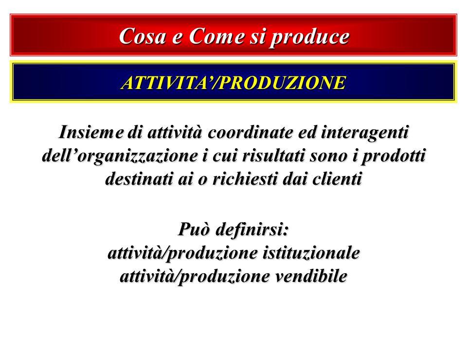 Cosa e Come si produce ATTIVITA/PRODUZIONE Insieme di attività coordinate ed interagenti dellorganizzazione i cui risultati sono i prodotti destinati
