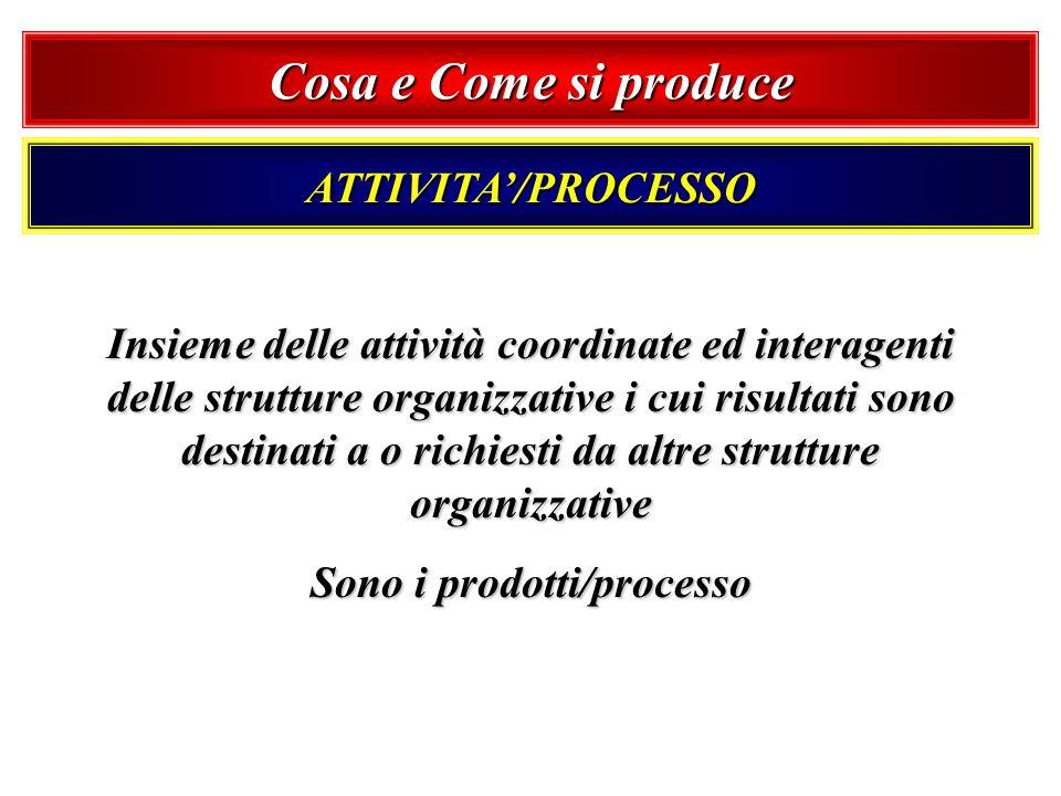 ATTIVITA/PROCESSO Insieme delle attività coordinate ed interagenti delle strutture organizzative i cui risultati sono destinati a o richiesti da altre