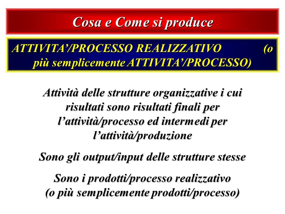 Cosa e Come si produce ATTIVITA/PROCESSO REALIZZATIVO (o più semplicemente ATTIVITA/PROCESSO) Attività delle strutture organizzative i cui risultati s