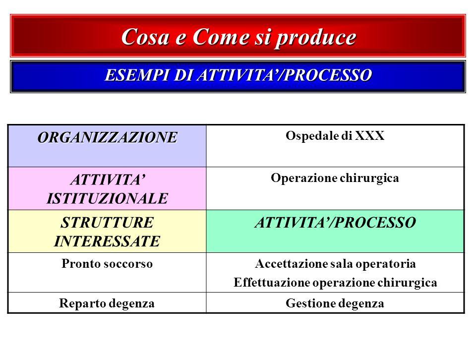 ESEMPI DI ATTIVITA/PROCESSO ORGANIZZAZIONE Ospedale di XXX ATTIVITA ISTITUZIONALE Operazione chirurgica STRUTTURE INTERESSATE ATTIVITA/PROCESSO Pronto