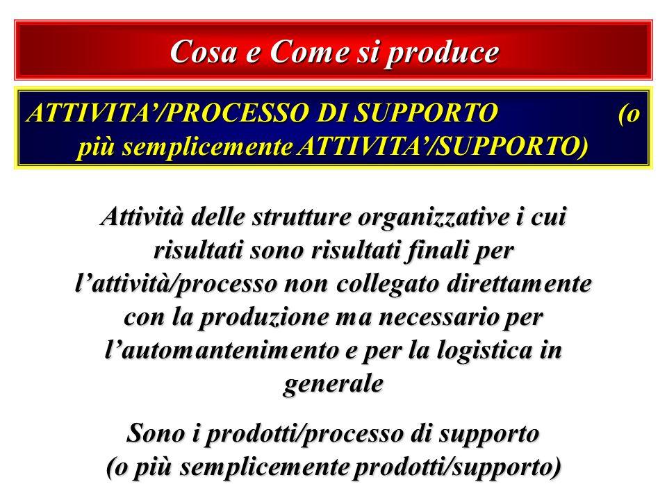 ATTIVITA/PROCESSO DI SUPPORTO (o più semplicemente ATTIVITA/SUPPORTO) Attività delle strutture organizzative i cui risultati sono risultati finali per