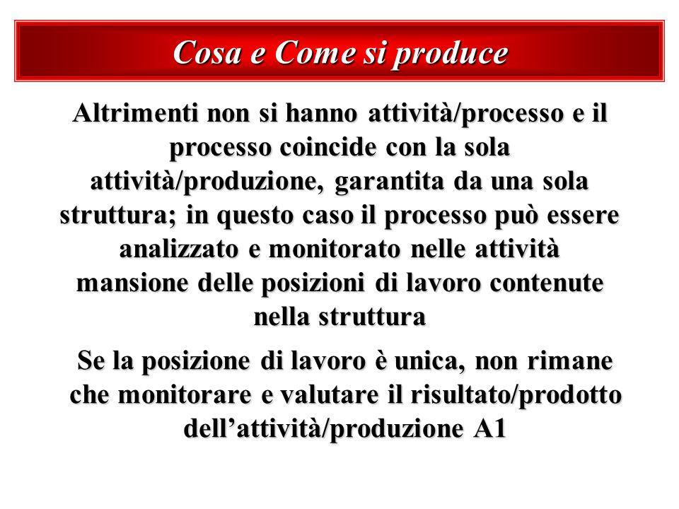 Cosa e Come si produce Altrimenti non si hanno attività/processo e il processo coincide con la sola attività/produzione, garantita da una sola struttu