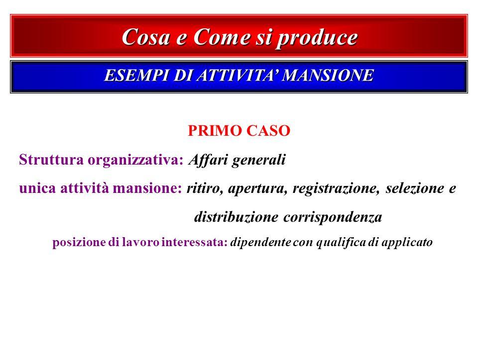 PRIMO CASO Struttura organizzativa: Affari generali unica attività mansione: ritiro, apertura, registrazione, selezione e distribuzione corrispondenza