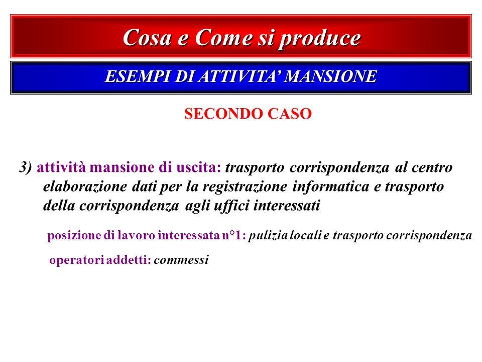 SECONDO CASO 3) attività mansione di uscita: trasporto corrispondenza al centro elaborazione dati per la registrazione informatica e trasporto della c