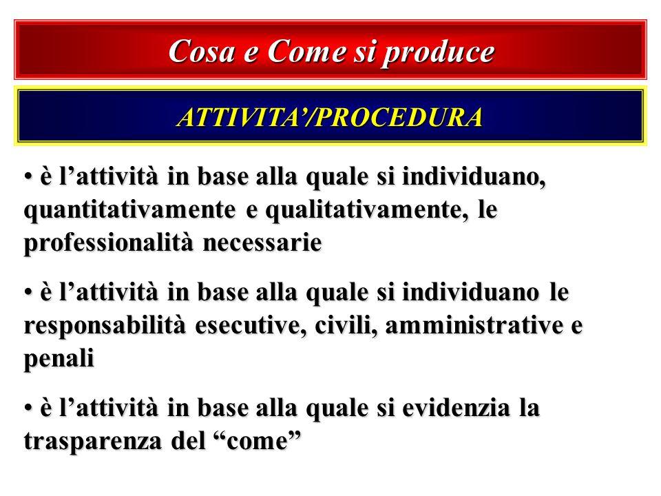 Cosa e Come si produce ATTIVITA/PROCEDURA è lattività in base alla quale si individuano, quantitativamente e qualitativamente, le professionalità nece