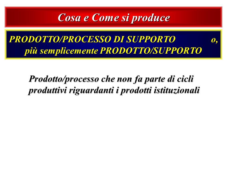 PRODOTTO/PROCESSO DI SUPPORTO o, più semplicemente PRODOTTO/SUPPORTO Prodotto/processo che non fa parte di cicli produttivi riguardanti i prodotti ist