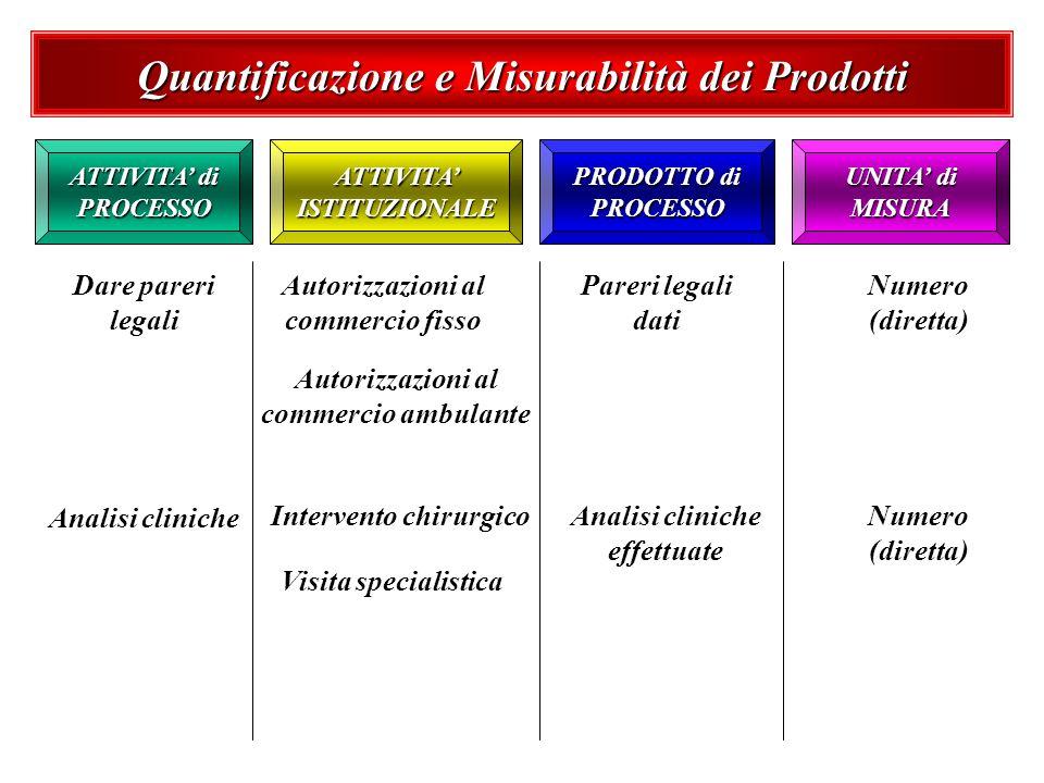 Quantificazione e Misurabilità dei Prodotti ATTIVITA di PROCESSO UNITA di MISURA PRODOTTO di PROCESSO ATTIVITA ISTITUZIONALE Dare pareri legali Autori