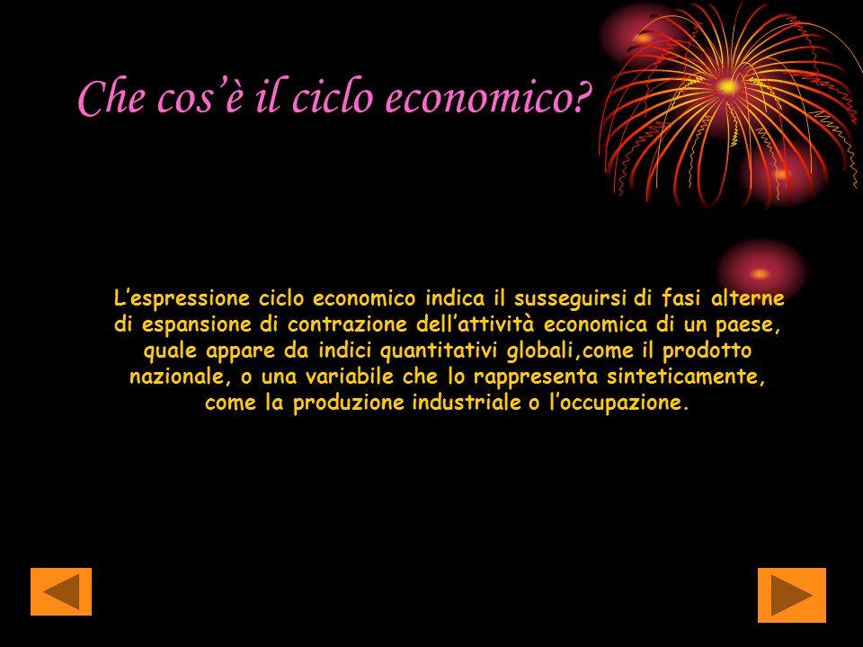 Che cosè il ciclo economico? Lespressione ciclo economico indica il susseguirsi di fasi alterne di espansione di contrazione dellattività economica di