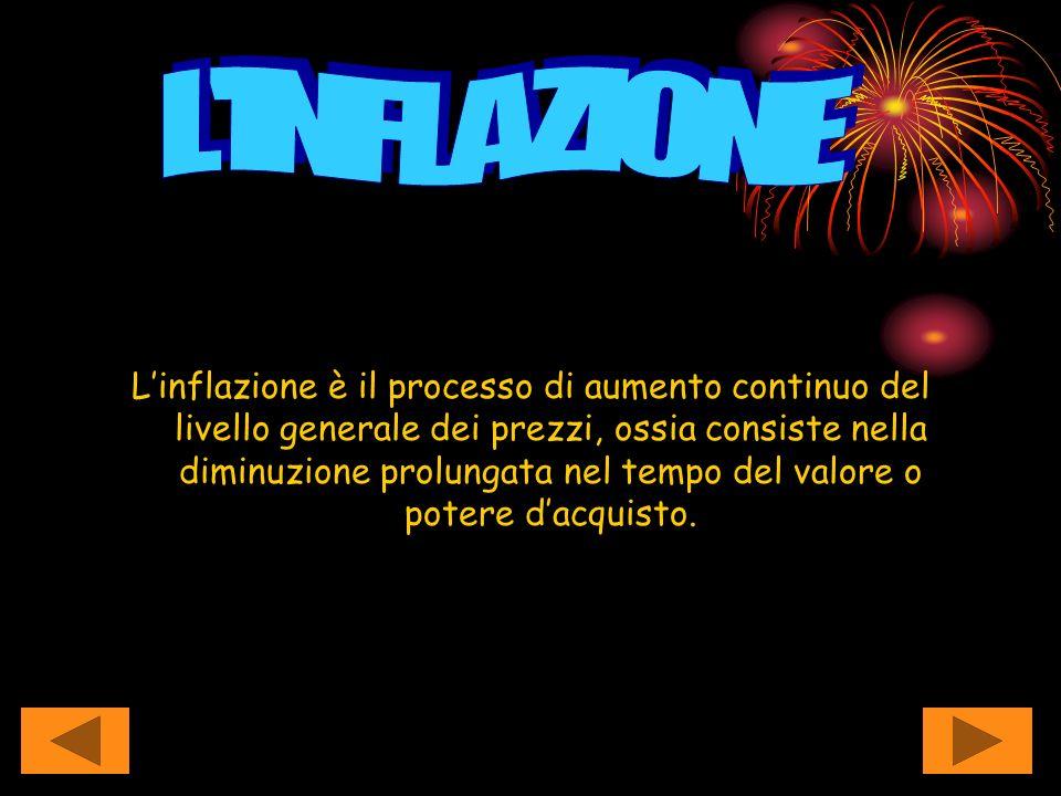 Linflazione è il processo di aumento continuo del livello generale dei prezzi, ossia consiste nella diminuzione prolungata nel tempo del valore o pote
