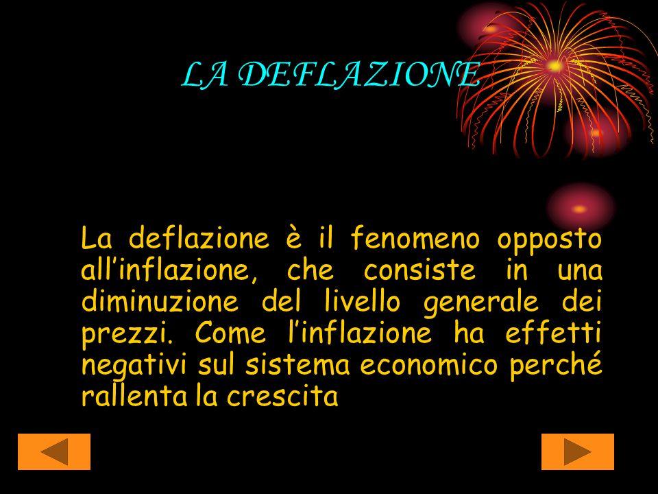 LA DEFLAZIONE La deflazione è il fenomeno opposto allinflazione, che consiste in una diminuzione del livello generale dei prezzi. Come linflazione ha