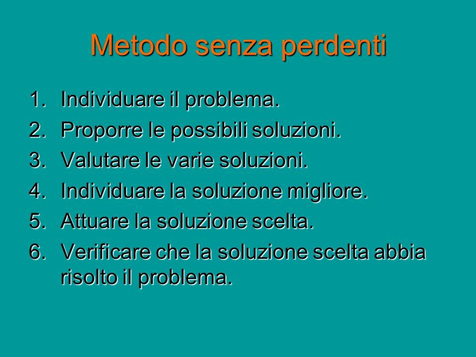 Metodo senza perdenti 1.Individuare il problema. 2.Proporre le possibili soluzioni. 3.Valutare le varie soluzioni. 4.Individuare la soluzione migliore