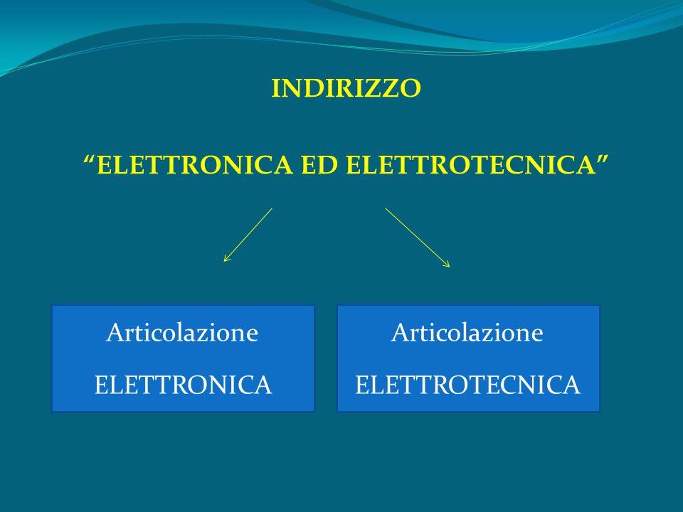 INDIRIZZO ELETTRONICA ED ELETTROTECNICA Articolazione ELETTRONICA Articolazione ELETTROTECNICA
