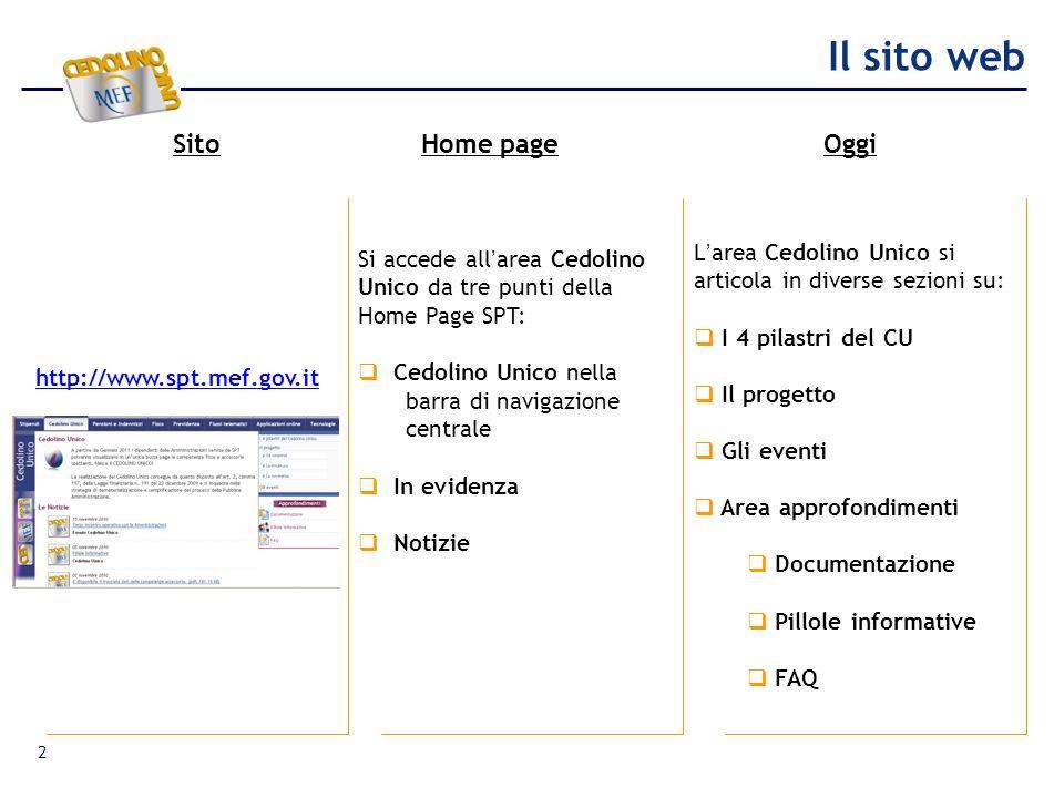 Il sito web SitoHome pageOggi 2 http://www.spt.mef.gov.it Si accede allarea Cedolino Unico da tre punti della Home Page SPT: Cedolino Unico nella barr