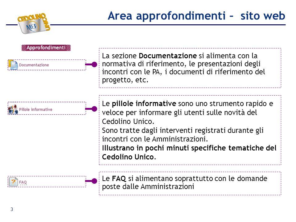 Area approfondimenti – sito web La sezione Documentazione si alimenta con la normativa di riferimento, le presentazioni degli incontri con le PA, i do