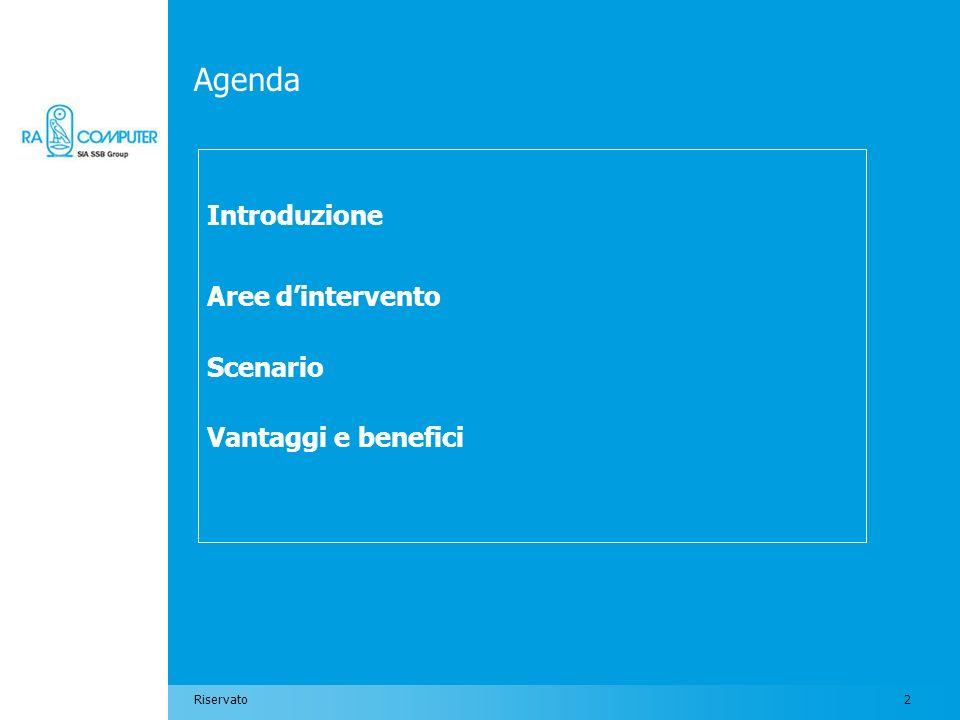 2Riservato Agenda Introduzione Aree dintervento Scenario Vantaggi e benefici