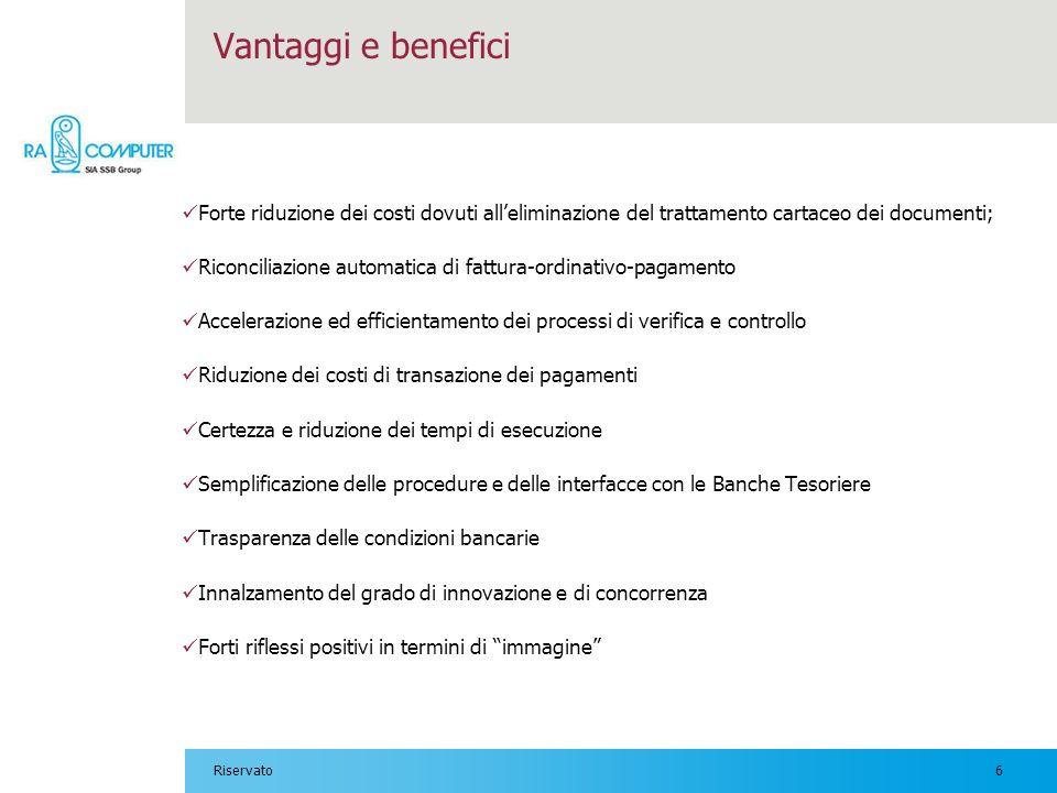 6Riservato Vantaggi e benefici Forte riduzione dei costi dovuti alleliminazione del trattamento cartaceo dei documenti; Riconciliazione automatica di