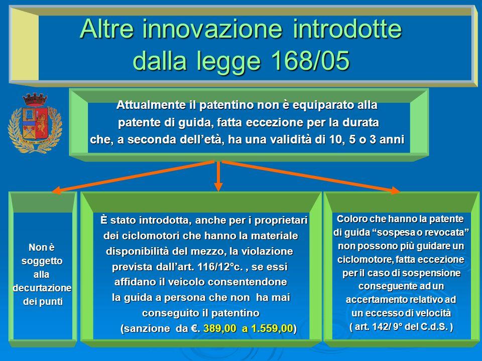 Altre innovazione introdotte dalla legge 168/05 Attualmente il patentino non è equiparato alla patente di guida, fatta eccezione per la durata che, a